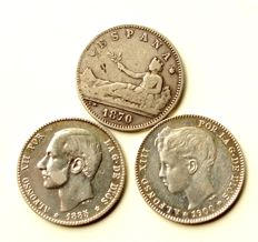 Spain – 5 coins – 1 Peseta – 1870, 1883, 1900 and 100 Pesetas 1966 Franco – All Silver