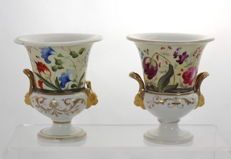 Pair of Antique Victorian Derby Style Porcelain Campana Vases - Lion Head Moulded Handles & Hand Painted Flowers