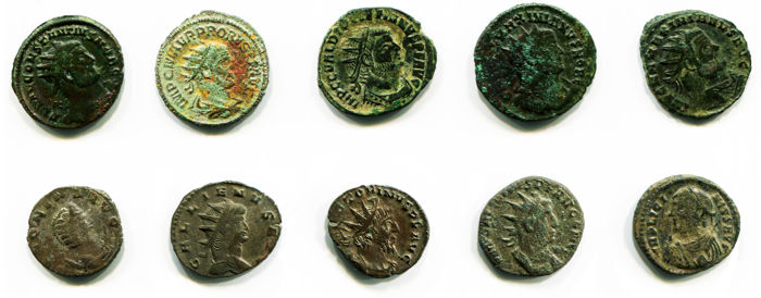 Roman Empire – Lot of ten 10 Silvered and Bronze Antoninianus