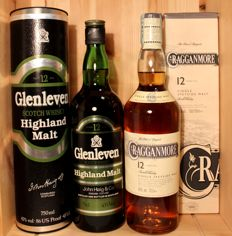 2 bottles - Glenleven 12 years old, Highland Malt Scotch Whisky / John Haig & Co. 750ml, 43%vol. + Cragganmore 12 years old, 70cl/700ml, 40%vol
