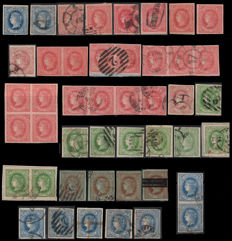 Spain 1864 – Isabel II Specialised set from this year's issue – Edifil 63, 64, 65, 67, 68