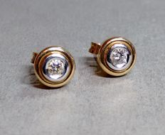 Earrings by Christ in 14 kt. gold bi-colour with brilliants approx. 0.14 ct