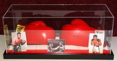 Muhammad Ali (RIP) and Joe Frazier (RIP) original autographed boxing gloves in display case + Certificate of Authenticity and Letter of Authenticity