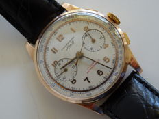 Mulfi chronograph, 18 kt/750 rose-gold vintage men's wristwatch, 1950s/1960s, OVERHAULED