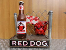 Rare advertising display stand (Red Dog) with fence, beer bottle and bulldog face