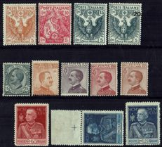 Italy, Kingdom 1915-1941 – 6 complete series of the period + 1 single stamp