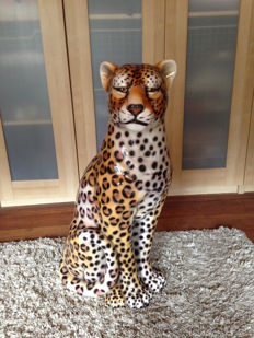 Ceramic Leopard statue, decoration, large sculpture height 80 CM