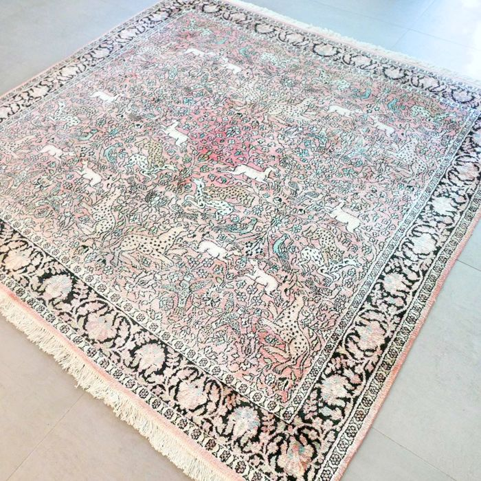 Beautiful 100% silk Kashmir animal kingdom carpet - 188 x 178 - unique opportunity - with certificate