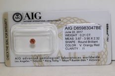 Vivid Orangey Red Diamond - 0.21 ct - I1