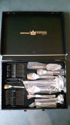 SBS Solingen Hamburg cutlery case - 23/24 karat hard decorative gold plated in diplomat cutlery case