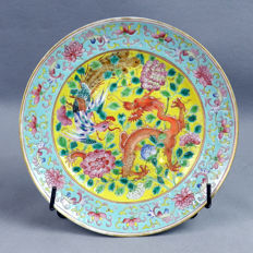 Canton Porcelain Plate, Dragon and Phenix battle - China - 19th century