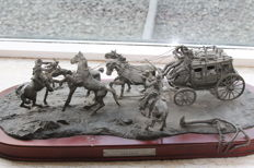 Stage coach ''hold up'' franklin mint limited edition tin (the robbery)
