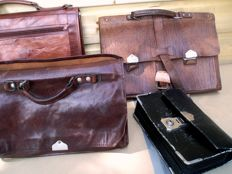 Four vintage leather bags, including 2 marked: CHENY and R. MONZO