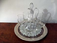 Seven  palaces &  vintage mid century modern  serving dish /tray & antique cristale deconter