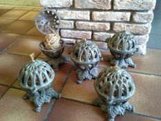 Lot of five vintage, old French cast iron rope burners