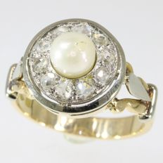 Vintage cluster ring with pearl and diamonds - anno 1950