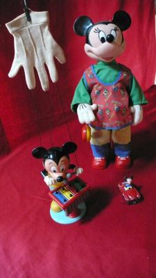 Disney, Walt - puppet glove - Mickey Mouse + Minnie Mouse yo-yo doll + miniature Mickey Mouse car  (ca. 60's)