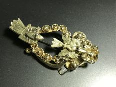 Very fine and special designed silver brooch into a bird shape