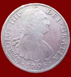 Spain –  Carlos IV, 8 silver Reales, Mexico 1796 – 40 mm / 26.9 gr