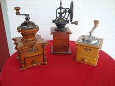 Three coffee grinders: one from the Netherlands, one from Germany, one from France, first and second half of the 20th century