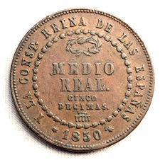 Spain – Isabel II  – 1/2 Real (5 Decimas) In Copper – 1850 – Segovia