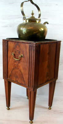 Complete mahogany tea stove with copper kettle