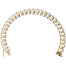 14 kt Yellow gold fantasy link bracelet (Retro) - Length:  21 cm.