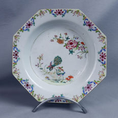 Octogonal porcelain plate - China - 18th century
