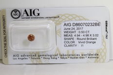 Dark Orange Diamond - 0.50 ct, I1