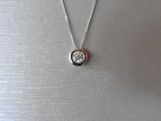 18k Gold Diamond Solitaire Pendant and Chain – 0.40 ct