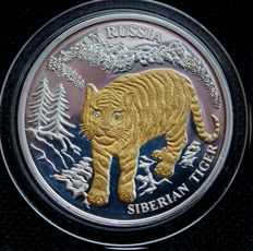 Liberia – 10 Dollars 2004 'Siberian tiger' with gold application and brilliants - 20 g silver