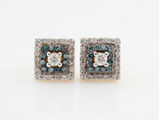 "14 kt yellow gold diamond earrings (2) 0.53 ct / 2.8 g / G-H & blue VS2-SI1 / 15 x 8 x 8 mm ""NEW"""