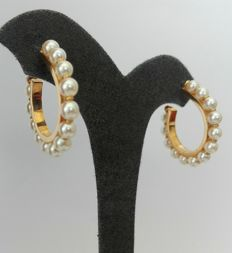 18kt Gold Earrings 800/1000 with cultivated salt water pearlsWeight: 8.2g