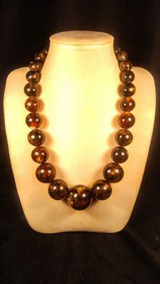 Huge round beads modified Landscape colour Baltic Amber necklace, length ca. 60 cm