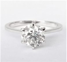 1.05 ct Diamond Ring - D / SI1 - 14K White Gold  - size 6