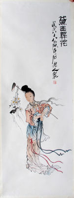 Hand painted reproduction of Qi Bai Shi 齐白石《黛玉葬花 Burial of Flowers》镜片- China - late 20th/21st century