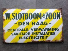 Emaille reclamebord W. Slotboom & Zoon Den Haag - ca 1940/50