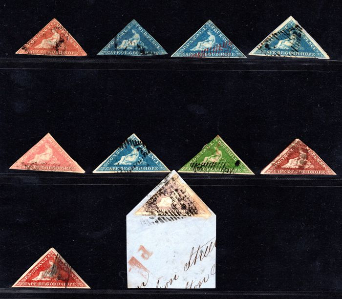 Cape of Good Hope 1853/64 - Lot of 10 Triangles, Stanley Gibbons 1, 2, 4, 4a, 5a, 6a, 8, 7b, 18b, 18