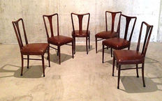 Paolo Buffa style - Set of six dining chairs, Italy, 1950s