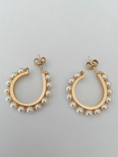 Gold Earrings - 19.2 kt with saltwater pearls - Weight - 8.2 g