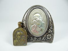 Antique silver plated brass Russian Italian icon lot and pendant