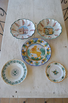 Lot of five ceramic plates