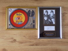 The Beatles Sgt Peppers framed cd & The Beatles framed picture with pre-printed signatures.