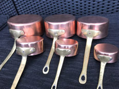 Beautiful 6-piece set professional red copper saucepans, 2nd half of 20th century