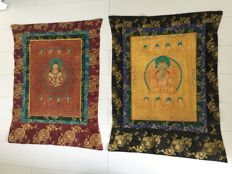 Lot with 2 Thangkas with Amitayus and Manjushri - Tibet/Nepal - Second half of 20th century