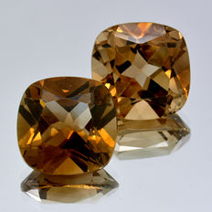 Two champagne topazes – 10.09 ct (5.43 ct + 4.66 ct) – No Reserve Price