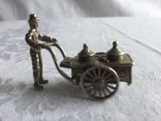 "Silver miniature ""ice cream man with cart"" - in good condition"