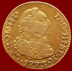 Spain - Carlos III - 1/2 Escudo gold coin - Madrid, 1773 (Assayer: PJ) - 14 mm - 1.59 g