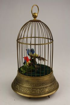 Ornate bird cage music box, 20th century.