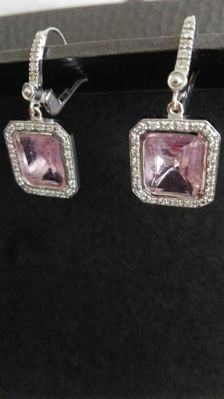 18 kt white gold dangle earrings with diamond and rose quarts, 3 cm